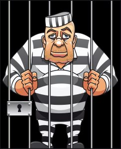 Cartoon picture of an inmate that needs a bail bondsman in St. Louis County