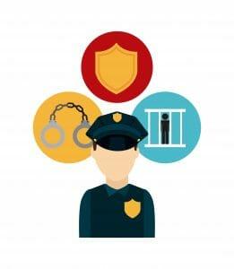 Symbols of law enforcement and bail bonds and St. Louis County Bail Bonds